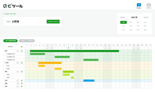 工程表の作成・管理情報をリアルタイム共有
